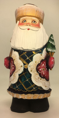 170 mm Santa Claus with a Christmas tree and a Bag of Gifts Carved Wooden Figure hand-painted (by Igor Wooden Carvings Studio)