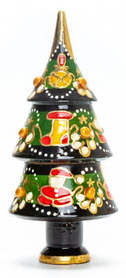 130 mm Christmas Wooden Green Tree with Hand Painted Garlands and Decorations