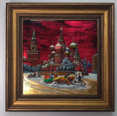 440x440 mm Red Square Saint Basil Church hand painted on Nacre Fedoscino painting (by Tatiana Fedoscino Arts)