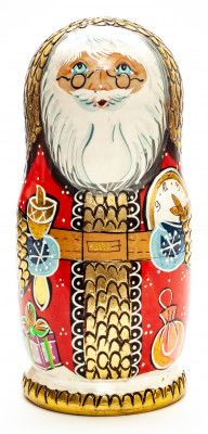 200mm Santa Claus hand painted Matryoshka round Doll 7pcs (by A Studio)