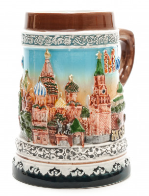 Moscow Attractions Ceramic Beer Mug