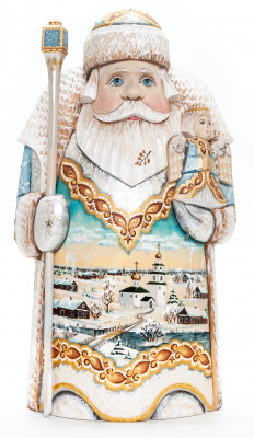 260 mm Santa Claus with a Magic Staff and an Angel with handpainted Russian Winter Wooden Carved Statue (by Natalia Nikitina Workshop)