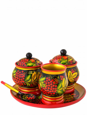 The Flower hand painted wooden Two Sugar Bowls with Glass and Tray (by Golden Khokhloma)