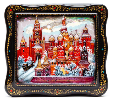 100x90mm Old Moscow Hand Painted Jewellery Box (by Sadko Workshop)