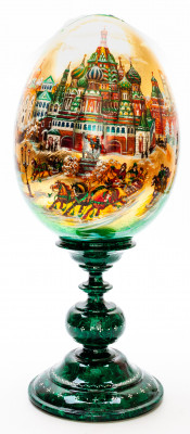 340 mm Saint Basil Cathedral hand painted on red colored wooden Egg with standby (by Alexander Green)