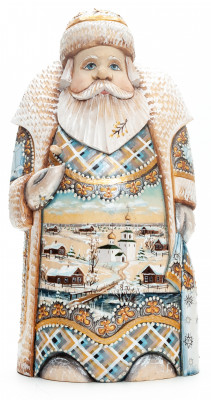 260 mm Santa with handpainted Russian Winter Carved Wood Hand Painted Collectible Figurine (by Natalia Nikitina Workshop)