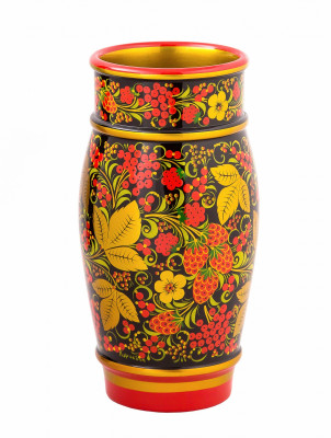 230x120 mm Khokhloma hand painted wooden Vase (by Golden Khokhloma)