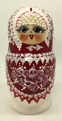 170 mm Red Gzhel with Bubbles hand painted wooden Matryoshka doll 5 pcs (by Rose Studio)