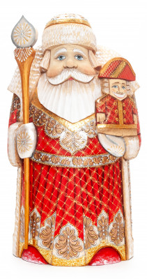 250 mm Santa with a Magic Staff and a Nutcracker Carved Wood Hand Painted Collectible Figurine  (by Natalia Nikitina Workshop)